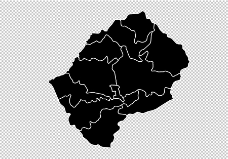 lesotho map - High detailed Black map with countiesregionsstates of lesotho. lesotho map isolated on transparent background. Illustration