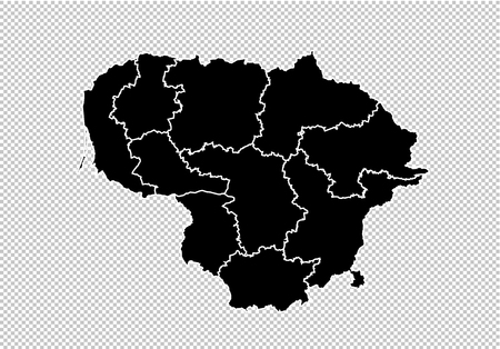 lithuania map - High detailed Black map with countiesregionsstates of lithuania. lithuania map isolated on transparent background.