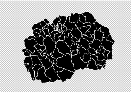 macedonia map - High detailed Black map with counties/regions/states of macedonia. macedonia map isolated on transparent background. Standard-Bild - 124517291