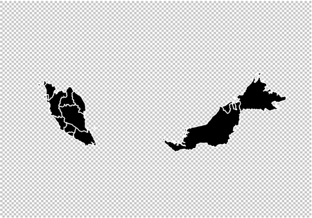 malaysia map - High detailed Black map with countiesregionsstates of malaysia. malaysia map isolated on transparent background.