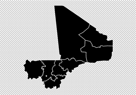 mali map - High detailed Black map with countiesregionsstates of mali. mali map isolated on transparent background.