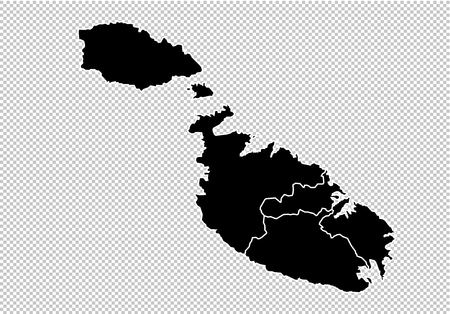 malta map - High detailed Black map with countiesregionsstates of malta. malta map isolated on transparent background.