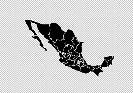 mexico map - High detailed Black map with countiesregionsstates of mexico. mexico map isolated on transparent background.