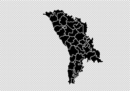 moldova map - High detailed Black map with countiesregionsstates of moldova. moldova map isolated on transparent background.