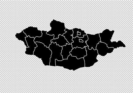 mongolia map - High detailed Black map with countiesregionsstates of mongolia. mongolia map isolated on transparent background.