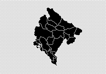 montenegro map - High detailed Black map with countiesregionsstates of montenegro. montenegro map isolated on transparent background.