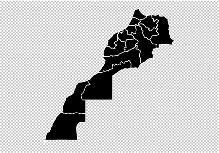 morocco map - High detailed Black map with countiesregionsstates of morocco. morocco map isolated on transparent background. Illustration