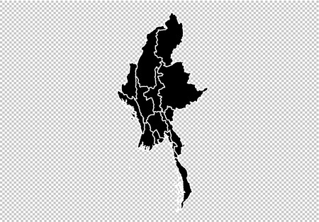 myanmar map - High detailed Black map with countiesregionsstates of myanmar. myanmar map isolated on transparent background.