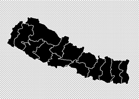nepal map - High detailed Black map with countiesregionsstates of nepal. nepal map isolated on transparent background. Illustration