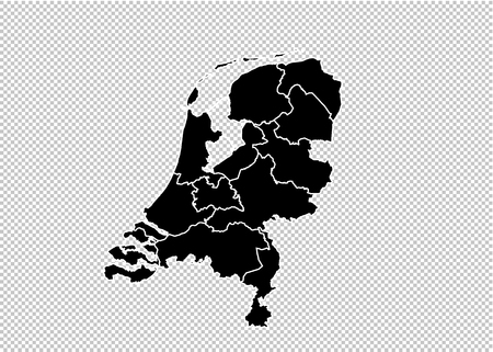 netherlands map - High detailed Black map with countiesregionsstates of netherlands. netherlands map isolated on transparent background.