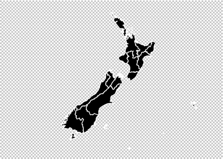 New Zealand map - High detailed Black map with countiesregionsstates of New Zealand. New Zealand map isolated on transparent background. Illustration