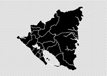 nicaragua map - High detailed Black map with countiesregionsstates of nicaragua. nicaragua map isolated on transparent background.