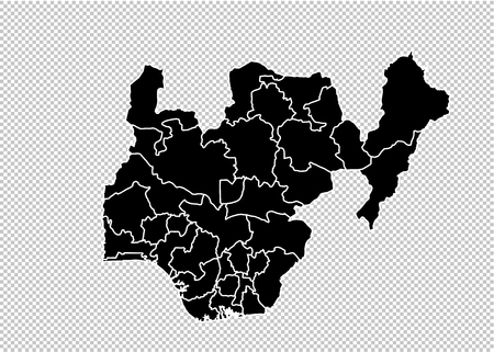 nigeria map - High detailed Black map with countiesregionsstates of nigeria. nigeria map isolated on transparent background.