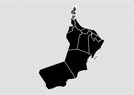 oman map - High detailed Black map with countiesregionsstates of oman. oman map isolated on transparent background.