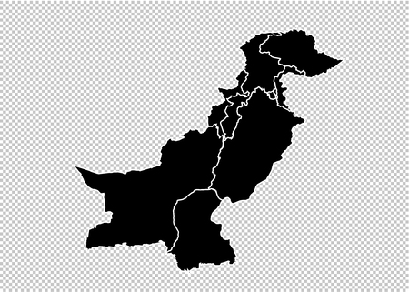 pakistan map - High detailed Black map with countiesregionsstates of pakistan. pakistan map isolated on transparent background.