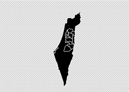 palestine map - High detailed Black map with countiesregionsstates of palestine. palestine map isolated on transparent background.