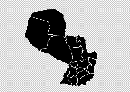 paraguay map - High detailed Black map with countiesregionsstates of paraguay. paraguay map isolated on transparent background.