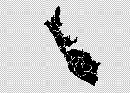 peru map - High detailed Black map with countiesregionsstates of peru. peru map isolated on transparent background.