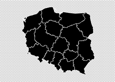 poland map - High detailed Black map with countiesregionsstates of poland. poland map isolated on transparent background. Illustration