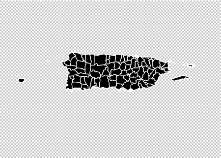 puerto Rico map - High detailed Black map with countiesregionsstates of puerto Rico. puerto Rico map isolated on transparent background.