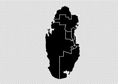 qatar map - High detailed Black map with countiesregionsstates of qatar. qatar map isolated on transparent background. Illustration