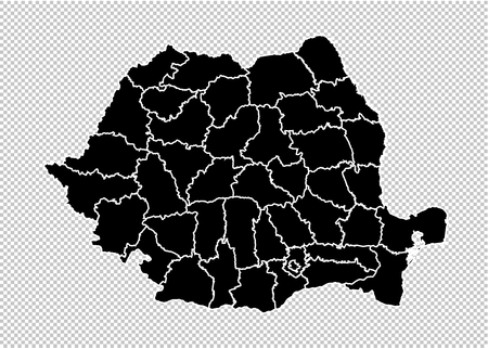 romania map - High detailed Black map with countiesregionsstates of romania. romania map isolated on transparent background.