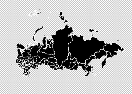 russia map - High detailed Black map with countiesregionsstates of russia. russia map isolated on transparent background.
