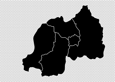 rwanda map - High detailed Black map with countiesregionsstates of rwanda. rwanda map isolated on transparent background. Illustration