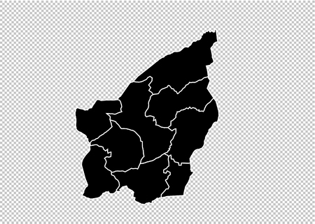 San Marino map - High detailed Black map with countiesregionsstates of San Marino. San Marino map isolated on transparent background.