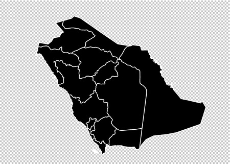 Saudi Arabia map - High detailed Black map with countiesregionsstates of Saudi Arabia. Saudi Arabia map isolated on transparent background. Illustration