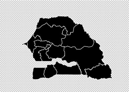 senegal map - High detailed Black map with countiesregionsstates of senegal. senegal map isolated on transparent background.