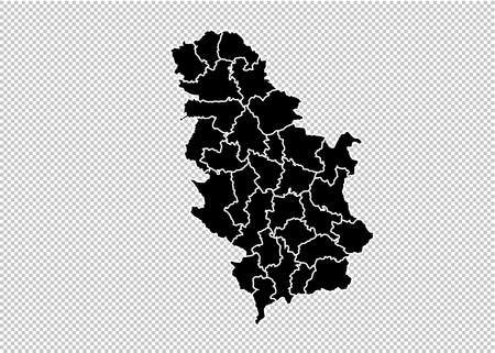 Serbia map - High detailed Black map with counties/regions/states of Serbia. Serbia map isolated on transparent background.