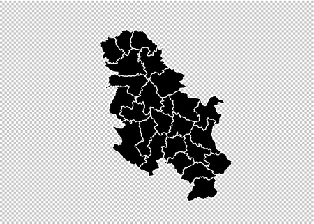 serbia No Kosovo map - High detailed Black map with countiesregionsstates of serbia No Kosovo. serbia No Kosovo map isolated on transparent background.