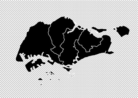 singapore map - High detailed Black map with countiesregionsstates of singapore. singapore map isolated on transparent background. Illustration