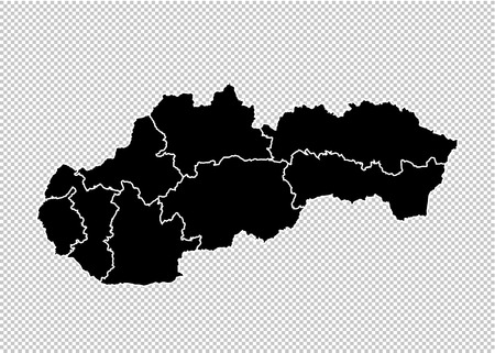 slovakia map - High detailed Black map with countiesregionsstates of slovakia. slovakia map isolated on transparent background. Illustration