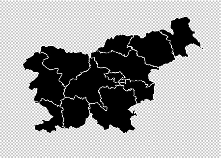 slovenia map - High detailed Black map with countiesregionsstates of slovenia. slovenia map isolated on transparent background.