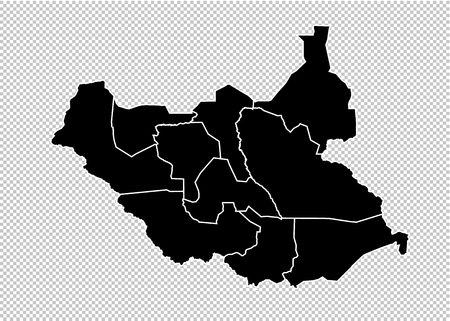 south Sudan map - High detailed Black map with countiesregionsstates of south Sudan. south Sudan map isolated on transparent background.