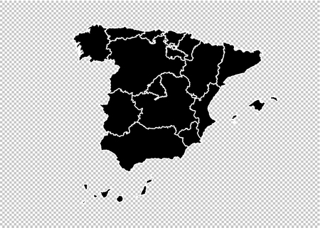 spain map - High detailed Black map with countiesregionsstates of spain. spain map isolated on transparent background. Illustration