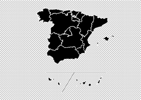 Spain Provinces map - High detailed Black map with countiesregionsstates of Spain Provinces. Spain Provinces map isolated on transparent background.