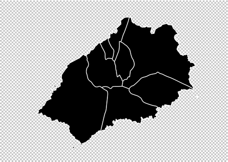 Saint Helena map - High detailed Black map with countiesregionsstates of Saint Helena. Saint Helena map isolated on transparent background.