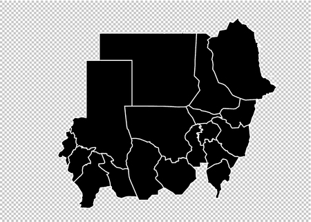sudan map - High detailed Black map with countiesregionsstates of sudan. sudan map isolated on transparent background. Illustration