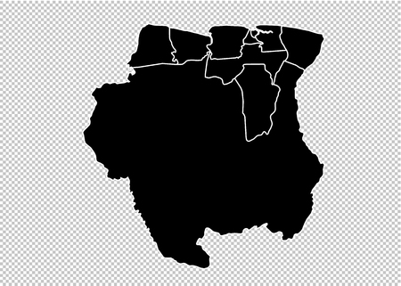 suriname map - High detailed Black map with countiesregionsstates of suriname. suriname map isolated on transparent background. Illustration