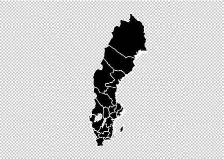 sweden map - High detailed Black map with countiesregionsstates of sweden. sweden map isolated on transparent background. Illustration
