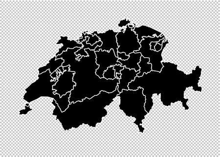 switzerland map - High detailed Black map with countiesregionsstates of switzerland. switzerland map isolated on transparent background.