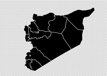 syria map - High detailed Black map with countiesregionsstates of syria. syria map isolated on transparent background.