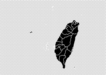 taiwan map - High detailed Black map with countiesregionsstates of taiwan. taiwan map isolated on transparent background. Illustration