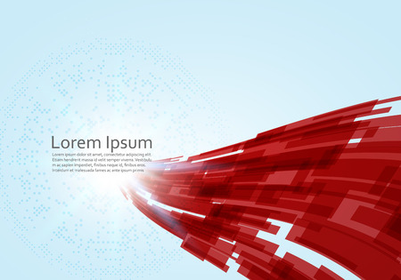 Abstract Red virtual technology concept futuristic digital background with space for your text. Vector illustration Ilustración de vector