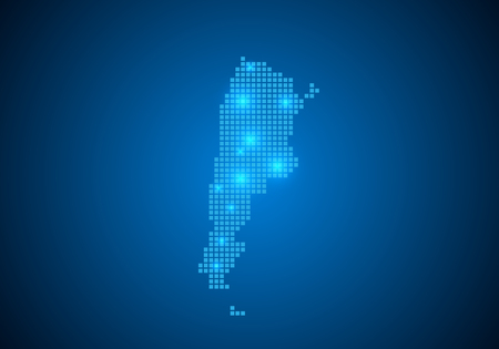 Abstract blue background with Argentina map, internet line, connected points. Argentina map with dot nodes. Global network connection concept. Wire frame 3D mesh polygonal network line. vector.