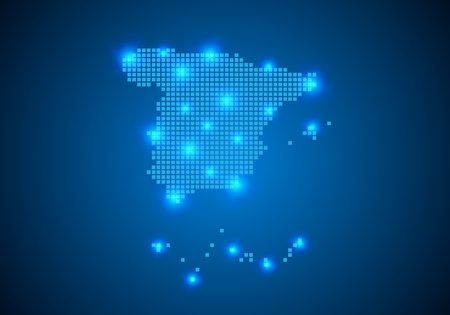 Abstract blue background with Spain map, internet line, connected points. Spain map with dot nodes. Global network connection concept. Wire frame 3D mesh polygonal network line. vector.