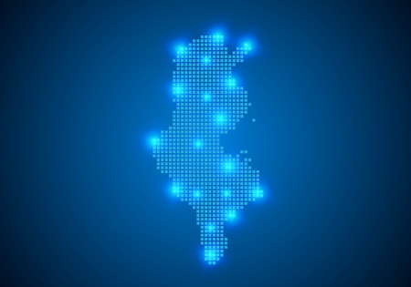 Abstract blue background with Tunisia map, internet line, connected points. Tunisia map with dot nodes. Global network connection concept. Wire frame 3D mesh polygonal network line. vector.